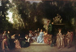 Recreation Galante, c.1717/18 by Watteau | Painting Reproduction