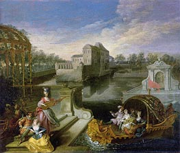 The Spring: Fete Champetre in a Water Garden with Figures in a Boat, undated by Watteau | Painting Reproduction