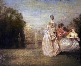 The Two Cousins | Watteau | Painting Reproduction