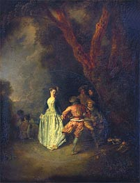 The Country Dance, c.1711 by Watteau | Painting Reproduction