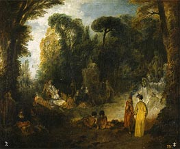 Gathering in a Park, c.1712/13 by Watteau | Painting Reproduction
