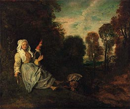 Evening Landscape with Spinner, c.1713/17 by Watteau | Painting Reproduction