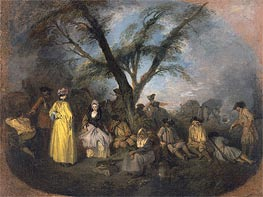 The Rest, c.1709 by Watteau | Painting Reproduction