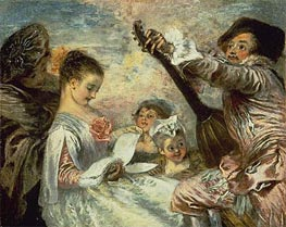 The Music Lesson, c.1717/18 by Watteau | Painting Reproduction
