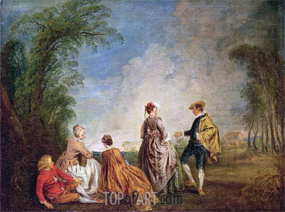 An Embarrasing Proposal, c.1715/16 | Watteau | Gemälde Reproduktion