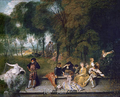 Meeting in the Open Air, c.1719/20 | Watteau | Painting Reproduction