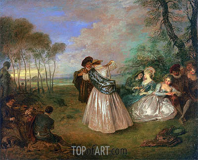 Quadrille (La Contredanse), c.1716/19 | Watteau | Painting Reproduction