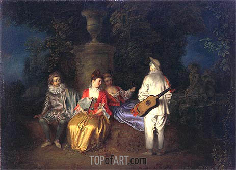 The Foursome (La Partie Quarree), c.1713 | Watteau | Gemälde Reproduktion