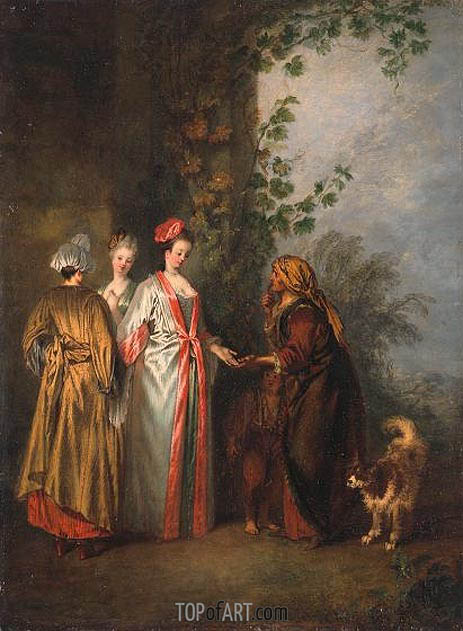 The Fortune Teller, c.1710 | Watteau | Gemälde Reproduktion
