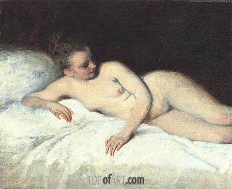 Reclining Nude, c.1713/17 | Watteau | Painting Reproduction