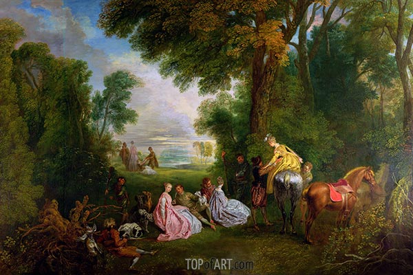 The Halt during the Chase, c.1717/12 | Watteau | Painting Reproduction