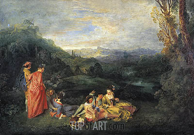 Love in the Country (Peaceful Love), c.1718/19 | Watteau | Painting Reproduction