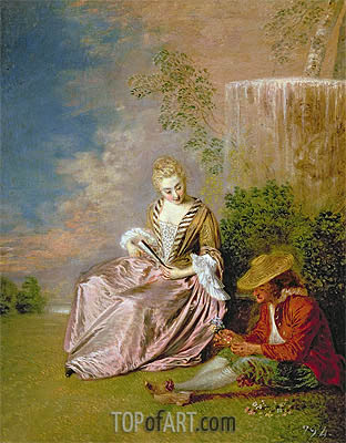 The Shy Lover, 1718 | Watteau | Painting Reproduction