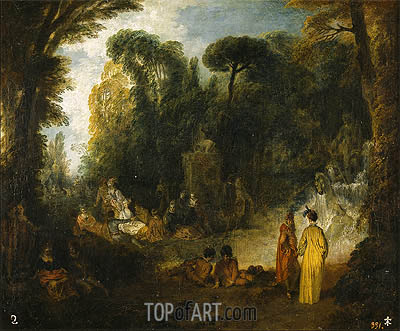 Gathering in a Park, c.1712/13 | Watteau | Painting Reproduction