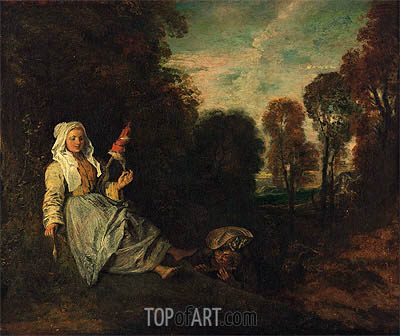 Evening Landscape with Spinner, c.1713/17 | Watteau | Painting Reproduction