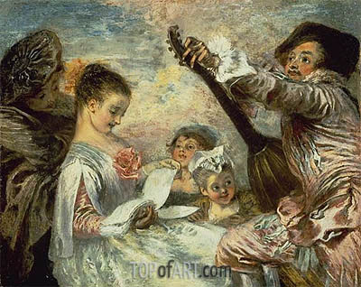 The Music Lesson, c.1717/18 | Watteau | Painting Reproduction