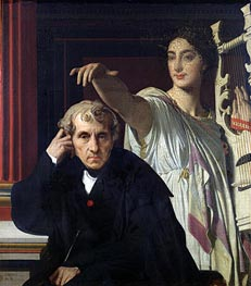 Portrait of the Composer Cherubini and the Muse of Lyrical Poetry | Ingres | Painting Reproduction