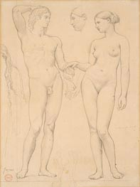 Studies of a Man and a Woman for 'The Golden Age', c.1843/48 by Ingres | Painting Reproduction