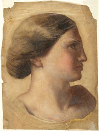 Head of a Young Woman, c.1855 by Ingres | Painting Reproduction