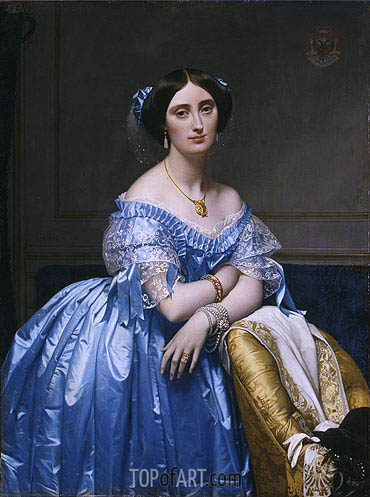 Princesse Albert de Broglie, 1853 | Ingres | Painting Reproduction