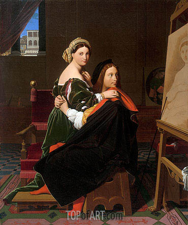 Raphael and the Fornarina, 1814 | Ingres | Painting Reproduction