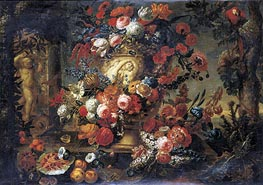 Still Life of Flowers in a Sculpted Vase, undated by Jean Baptiste Bosschaert | Painting Reproduction