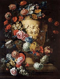 Still Life with a Sculpted Urn, undated by Jean Baptiste Bosschaert | Painting Reproduction