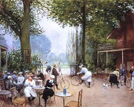 The Cycle Stop in the Bois de Boulogne, undated von Jean Beraud | Gemälde-Reproduktion