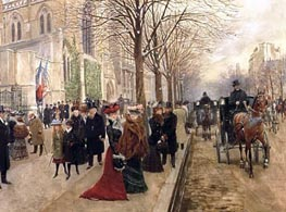 After the Service at the Church of Holy Trinity, Christmas 1890, 1890 von Jean Beraud | Gemälde-Reproduktion