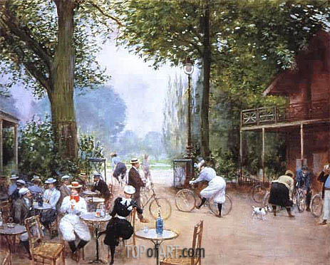 The Cycle Stop in the Bois de Boulogne, undated   Jean Beraud   Gemälde Reproduktion