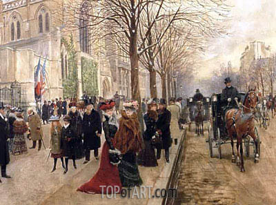 After the Service at the Church of Holy Trinity, Christmas 1890, 1890 | Jean Beraud | Painting Reproduction