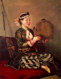 Girl in Turkish Costume with Tambourine, c.1738/43 by Jean Etienne Liotard | Painting Reproduction