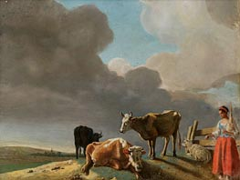 Landscape with Cows, c.1758/60 by Jean Etienne Liotard | Painting Reproduction