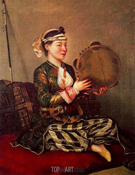 Girl in Turkish Costume with Tambourine, c.1738/43 | Jean Etienne Liotard | Painting Reproduction