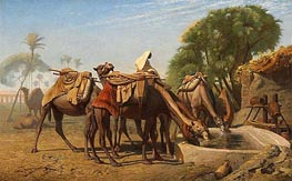 Camels at the Watering-Place, 1857 by Gerome | Painting Reproduction