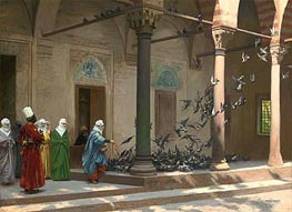 Harem Women Feeding Pigeons in a Courtyard | Gerome | Painting Reproduction