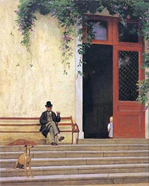 The Artist's Father and Son on the Doorstep of His House, c.1866/67 by Gerome | Painting Reproduction