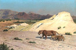 Lioness and Cubs | Gerome | Painting Reproduction