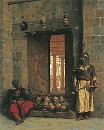 The Doorway to the Mosque El Assaneyn in Cairo where the heads of the Rebel Beys were exposed by Salek-Kachef | Gerome | Painting Reproduction