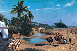 An Arab Caravan, undated by Gerome | Painting Reproduction