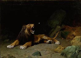 Lion Snapping at a Butterfly, 1889 by Gerome | Painting Reproduction