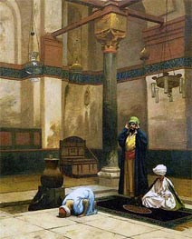 Three Worshippers Praying in a Corner of a Mosque, c.1880 by Gerome | Painting Reproduction