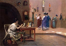 Tanagra's Studio, undated by Gerome | Painting Reproduction