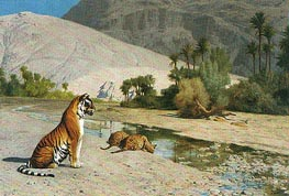 Tigress and Her Cubs, undated by Gerome | Painting Reproduction