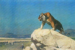 Tiger on the Lookout, undated by Gerome | Painting Reproduction