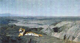 Night on the Desert (Tiger Resting in the Moonlight), 1884 by Gerome | Painting Reproduction