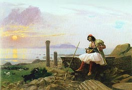 Guitar Player (Greek Singer), undated by Gerome | Painting Reproduction