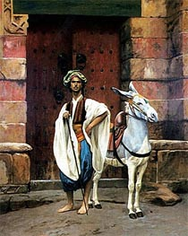 Sais and His Donkey, undated by Gerome | Painting Reproduction