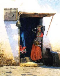 Woman of Cairo at Her Door, 1897 by Gerome | Painting Reproduction