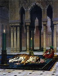 Pain of the Pasha - the Dead Tiger, 1885 by Gerome | Painting Reproduction